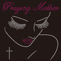 Praying Mother big lash girl Rhinestone Transfer