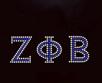 Zeta Phi Beta (Greek letters)- Custom Order Rhinestone Transfer