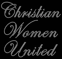 Christian Women United Cursive text Rhinestone Transfer