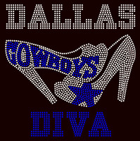 Dallas Cowboys Diva Heels-custom order Rhinestone Transfer