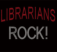 Librarian Rocks Text Rhinestone Transfer