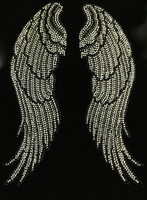 Large Angel wing (Black Clear) Rhinestone Transfer
