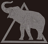 Delta Filled Elephant (all clear) Custom Rhinestone Transfer