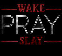 Wake Pray Slay (Red) Rhinestone Transfer