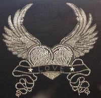 "Wing Heart Love banner Rhinestone Transfer 10""(W) x 10""(H)"
