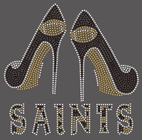 Saints 2 heels Football Rhinestone Transfer