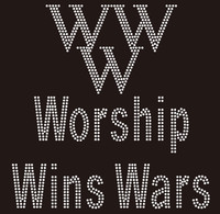 (25 Qty) (New) Worship Wins War (WWW) Rhinestone Transfer