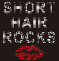 Short Hair Rocks - custom order Rhinestone Transfer