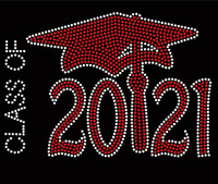 Class Of 2021 Red Cap School Rhinestone Transfer