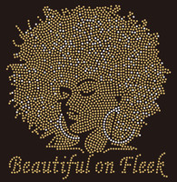 Beautiful on Fleek Golden Afro Girl custom Rhinestone Transfer