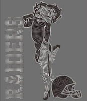 Raiders Betty Boob Football custom Rhinestone Transfer
