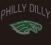 Philly Dilly Eagle Football custom Rhinestone Transfer