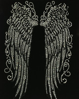 "Tall Angel wing Rhinestone Transfer 10""(W) x 15""(H)"