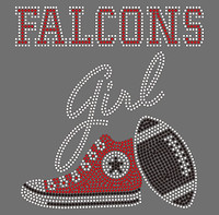 Falcons Girl (with Tennis shoe and Football)- Atlanta Custom Rhinestone transfer