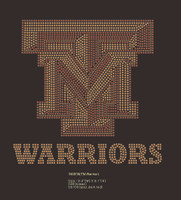 (Maroon / Golden) TM Warriors- Custom Rhinestone Transfer
