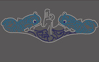 (25 Qty) Two Dolphins - Custom Rhinestone Transfer