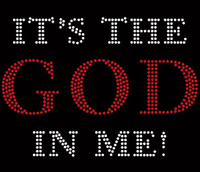 (red clear) It's the God in me Religious Rhinestone Transfer