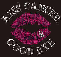 Kiss Cancer Goodbye Lip Ribbon Breast Cancer Awareness Rhinestone Transfer