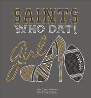 SAINTS Who Dat Girl Heel Football - Custom Rhinestone Transfer