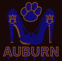 (Orange/cobalt) AUBURN Tigers Paw Heels - Custom Rhinestone Transfer