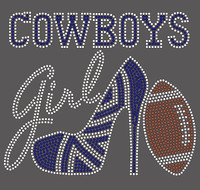Cowboys girl text with Heel and Football -custom Rhinestone Transfer