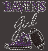 Ravens girl text with Tennis shoe and Football -custom Rhinestone Transfer