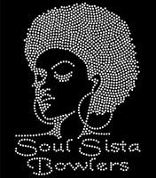 Soul Sista Bowlers Afro Girl custom Rhinestone Transfer