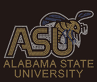 (Balance for 25 qty @ $9.99/pc) Alabama State University ASU BEE Custom Rhinestone Transfer
