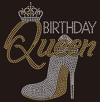 Birthday Queen Heel Crown custom Rhinestone Transfer