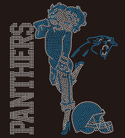 Panthers Betty Boob Football custom Rhinestone Transfer