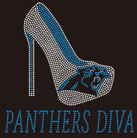 Panthers Diva Heel Football custom Rhinestone Transfer