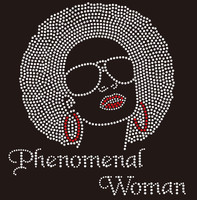 Phenomenal Woman big hair girl with goggle Rhinestone Transfer