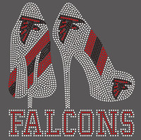 Falcons 2 Heel with Eagle Football custom Rhinestone Transfer