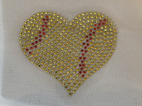 "3.5"" SOFTBALL Ball Heart Shape Rhinestone Transfer Iron on DIY"