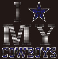 I Love my Cowboys Blue Star Rhinestone transfer