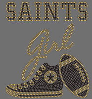 SAINTS girl text with Tennis Shoe Football Rhinestone Transfer
