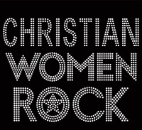 Christian Women Rock Text Rhinestone Transfer