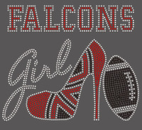 Falcons girl Heel Football custom Rhinestone Transfer