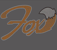 (5 Qty) Fox text with Tail - Custom Rhinestone Transfer