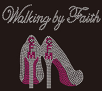 (Balance of 50 qty @ 4.75/pc) CFM Walking by Faith Heel custom order Rhinestone Transfer