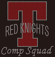 (Balance for 25 qty) T Red Knights Comp Squad - Custom Rhinestone Transfer