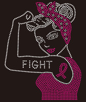 Fight Tattoo Girl Ribbon - Custom Rhinestone Transfer