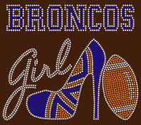 Broncos Girl text with heel football - Rhinestone Transfer