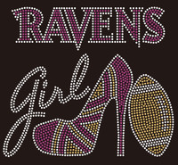 Ravens Girl text with heel football - Rhinestone Transfer