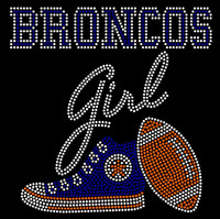 Broncos Girl text with Tennis shoe football - Rhinestone Transfer