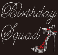 (14 pcs) Birthday Squad with Heel custom Rhinestone Transfer