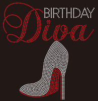 Birthday Diva with Heel custom Rhinestone Transfer