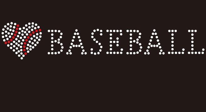 Heart shape Baseball with word BASEBALL Rhinestone Transfer