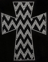 Chevron Cross Black and Clear Rhinestone Transfer