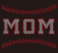 (9.5x7.8) Baseball  Mom Stitches (Stitches on top and bottom) custom Rhinestone Transfer